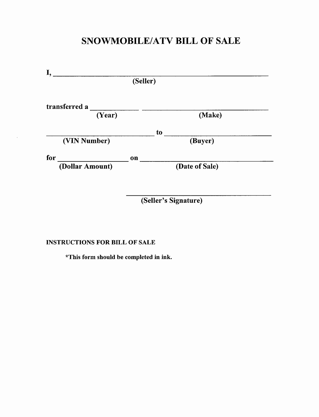 Format for Bill Of Sale Inspirational Free Printable Bill Of Sale Templates form Generic