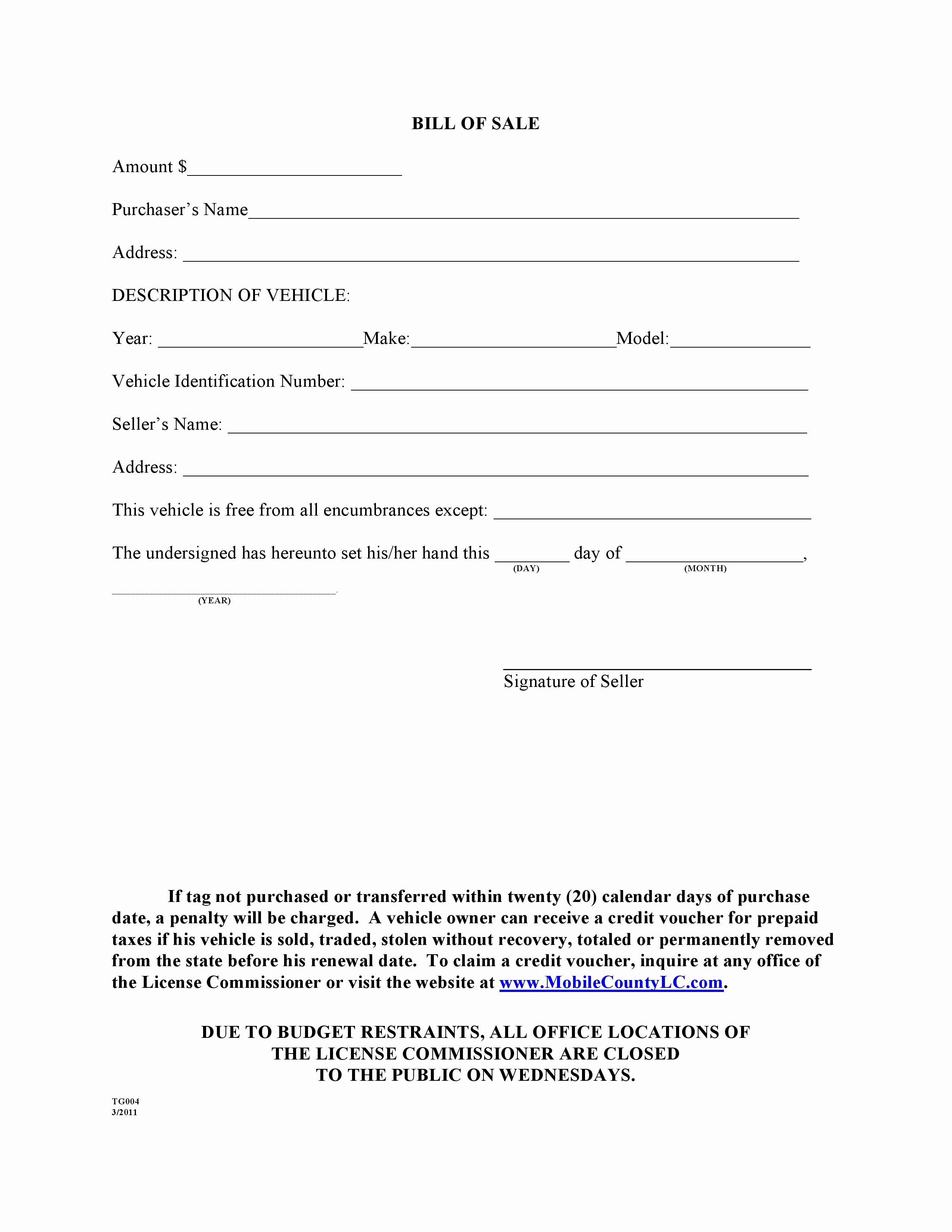 Format for Bill Of Sale New Free Mobile County Alabama Bill Of Sale form Pdf