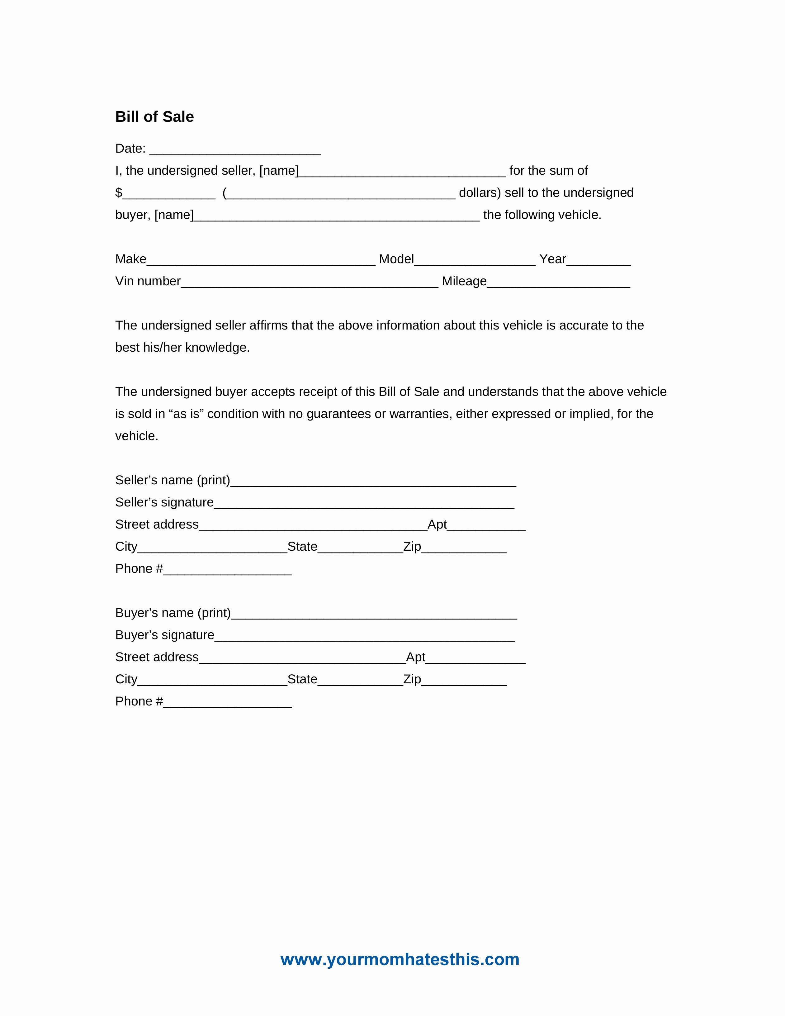 Format for Bill Of Sale Unique Download Bill Sale form Pdf