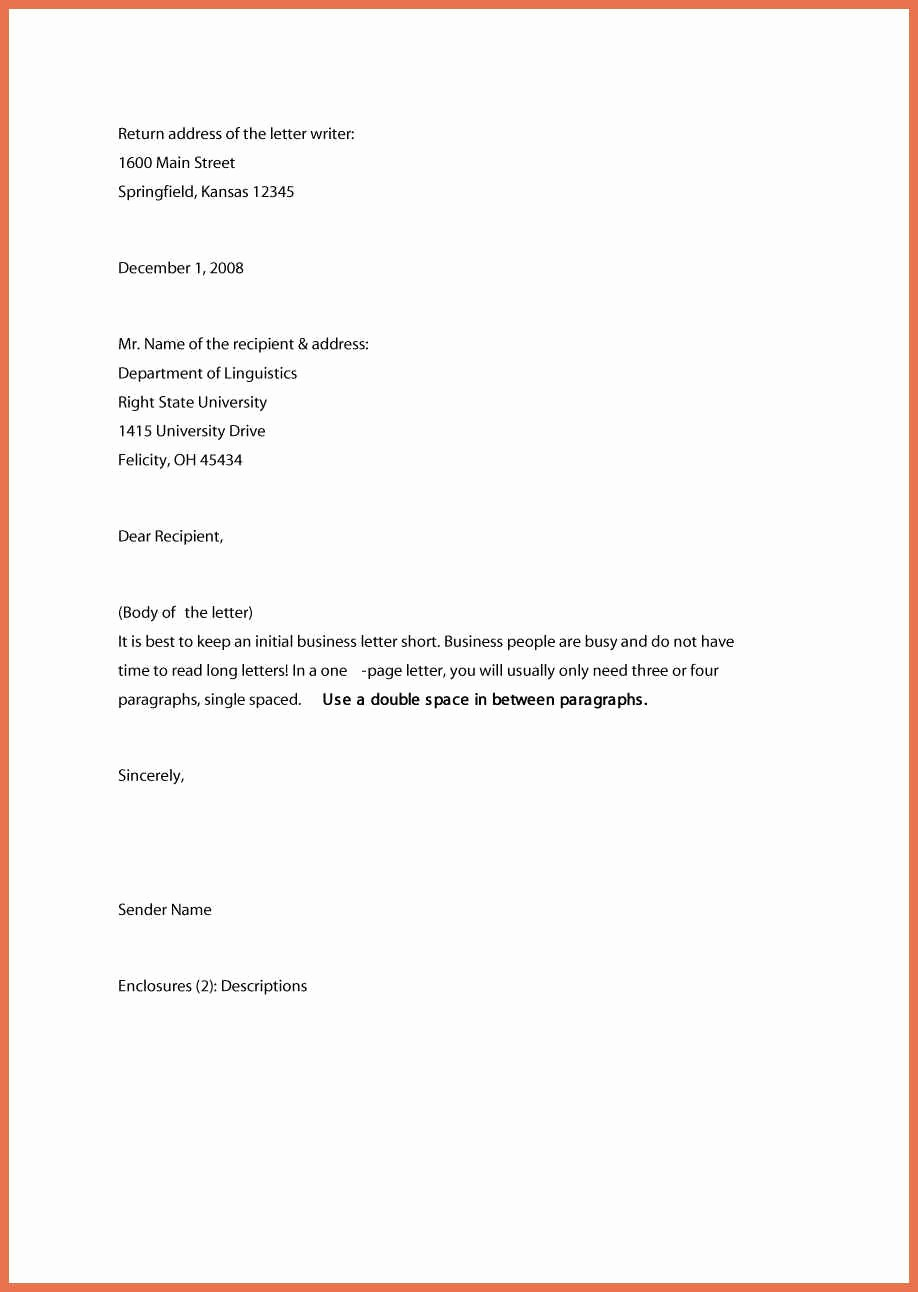 Format for formal Business Letter Awesome 10 formal Business Letter format Samples & Example