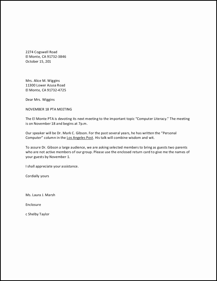 Format for formal Business Letter Awesome Personal Business Letter Example