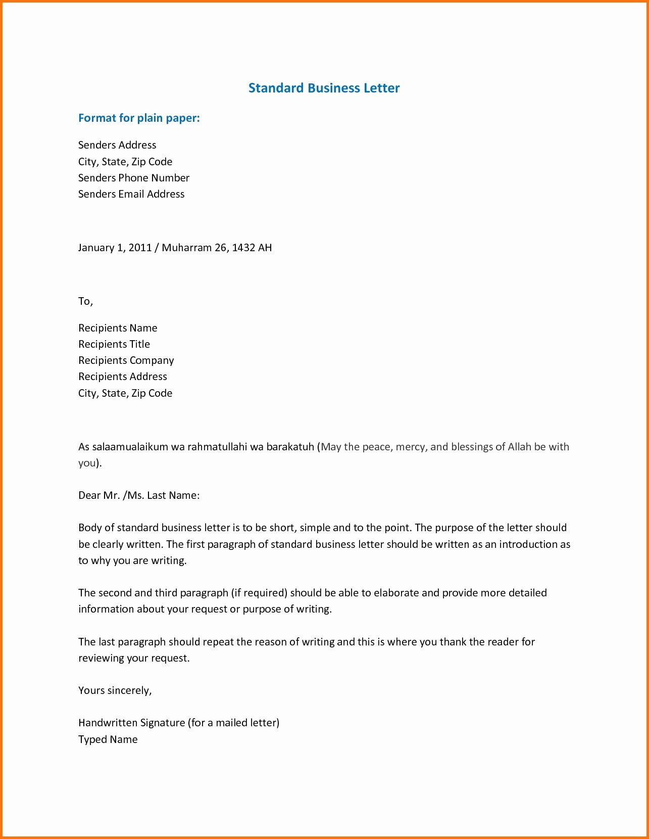 Format for formal Business Letter Awesome Standard Letter format