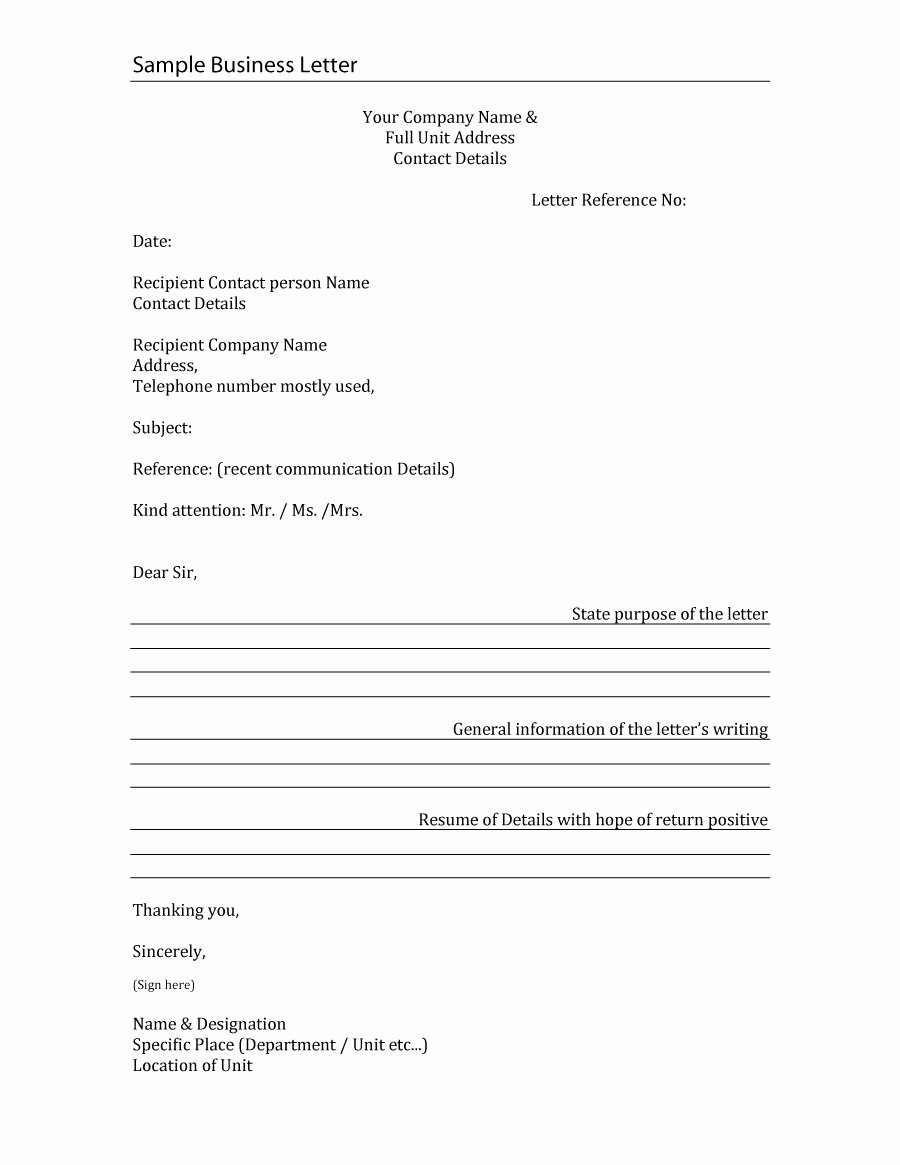Format for formal Business Letter Beautiful 35 formal Business Letter format Templates & Examples
