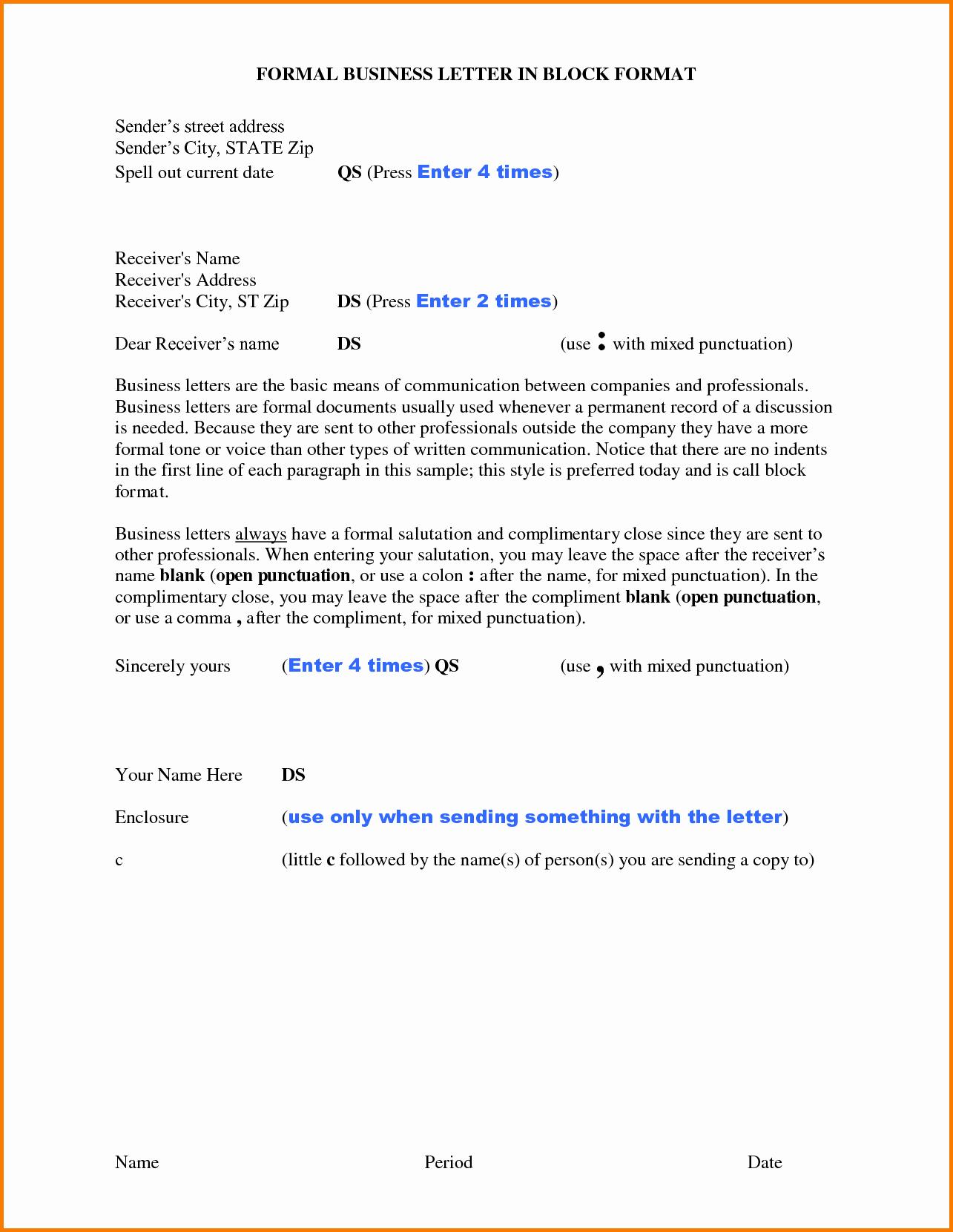 Format for formal Business Letter Elegant 9 formal Letter New format