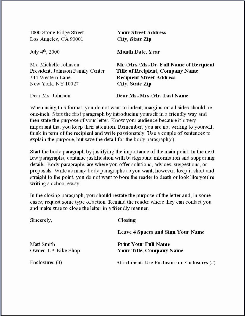 Format for formal Business Letter Fresh Business Letter format – formal Writing Sample Template
