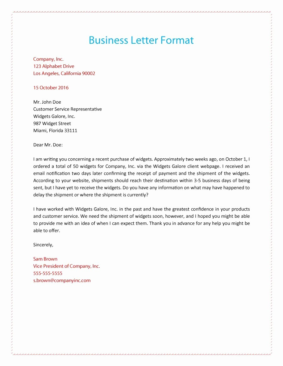 Format for formal Business Letter Inspirational 35 formal Business Letter format Templates & Examples