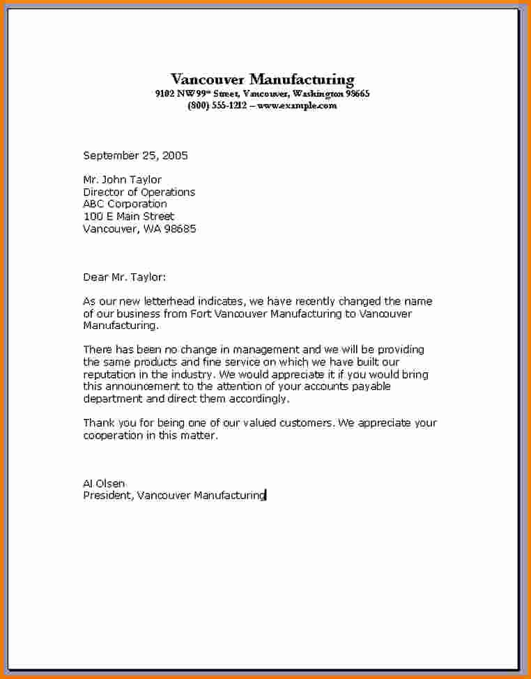 Format for formal Business Letter Lovely 4 formal Business Letter From A Pany