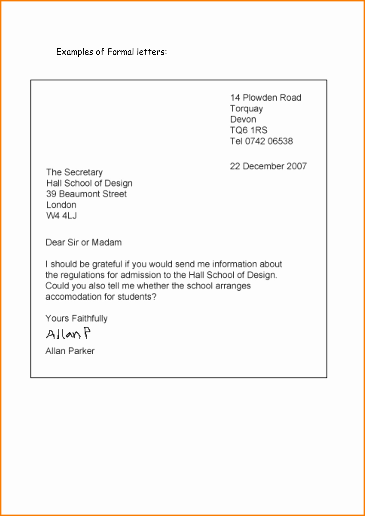 Format for formal Business Letter New 5 Printable formal Business Letter format
