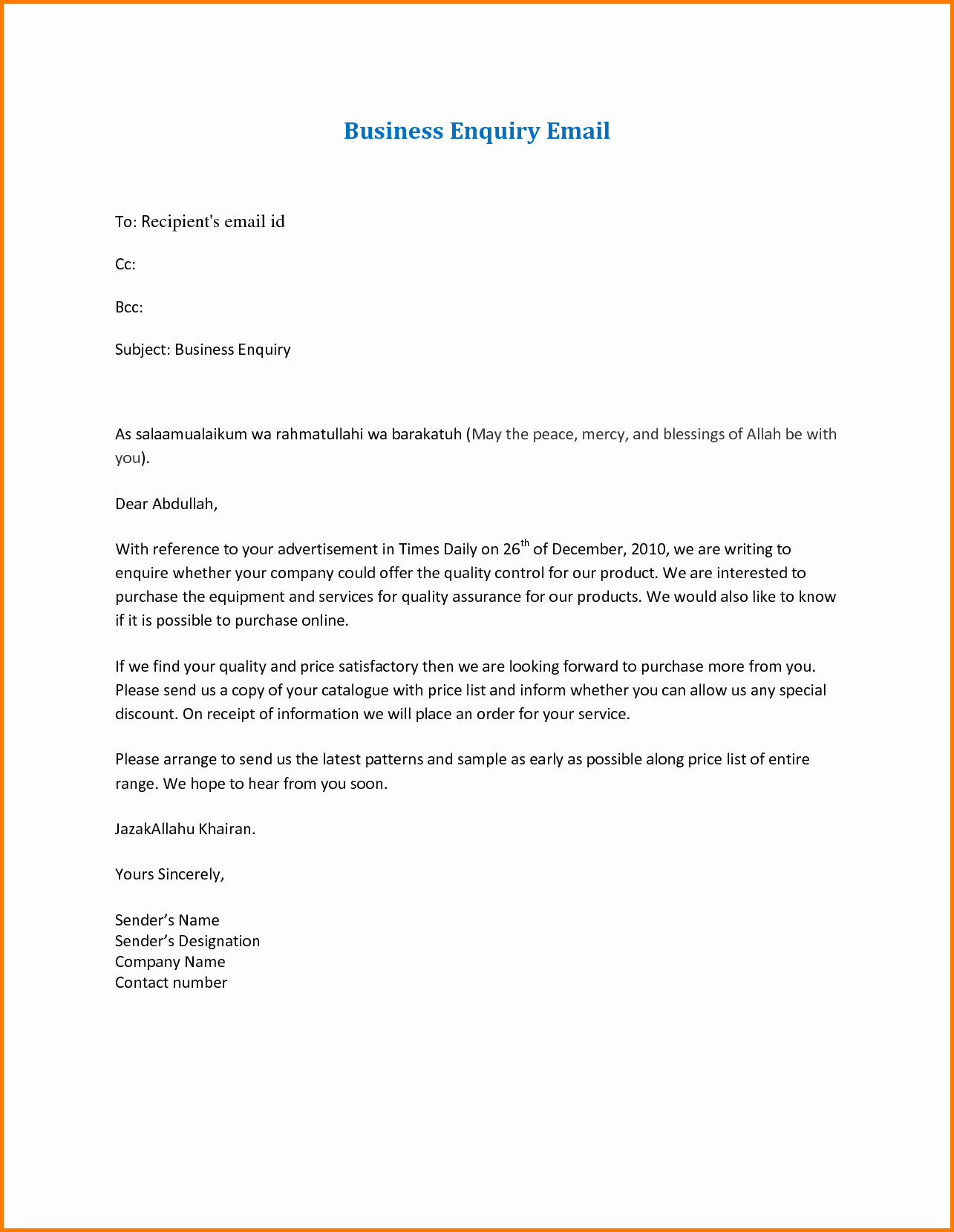 Format for formal Business Letter Unique 7 formal Business Email format Sample