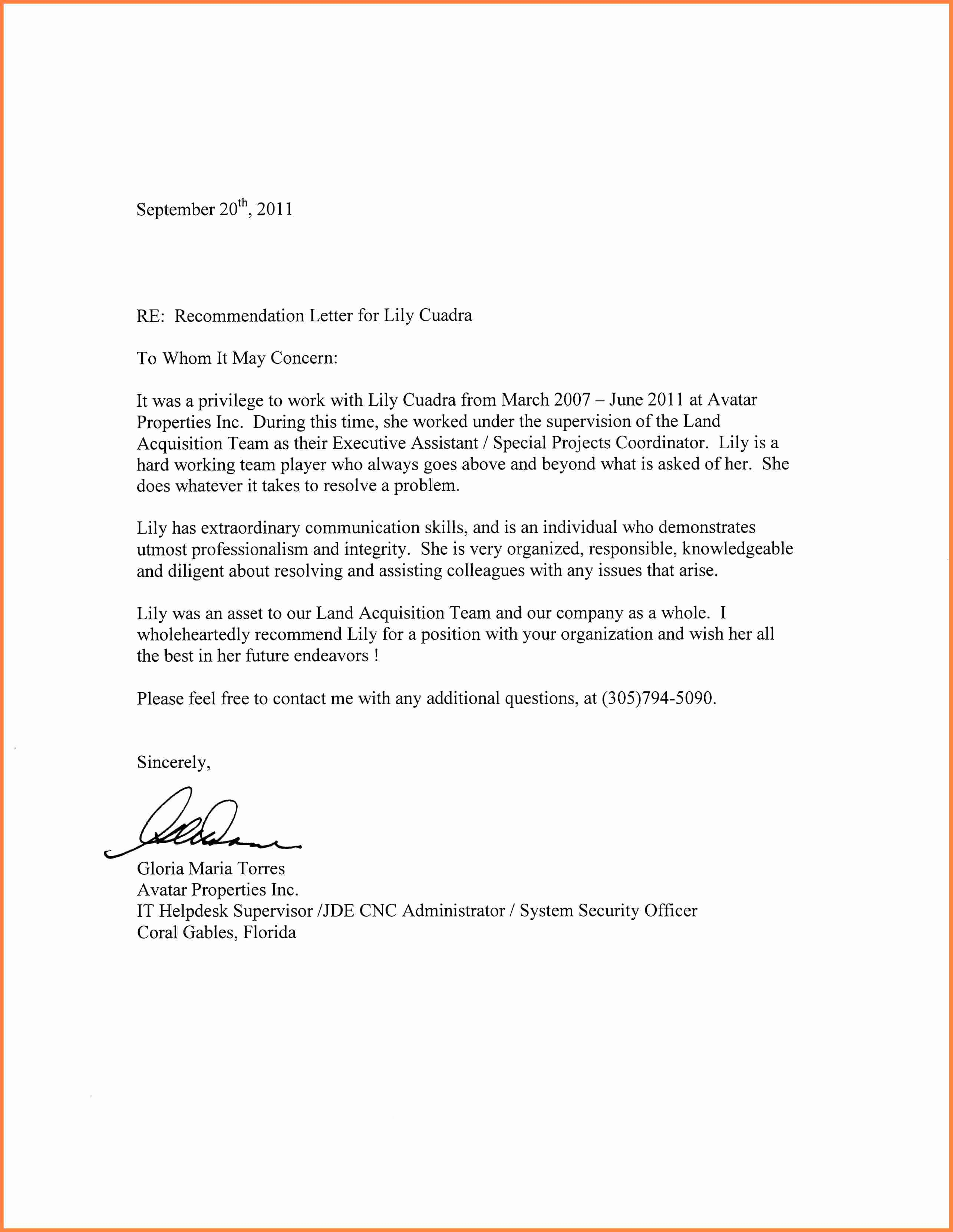 Format for Letters Of Recommendation New Re Mendation Letter for An Employee Graduate School