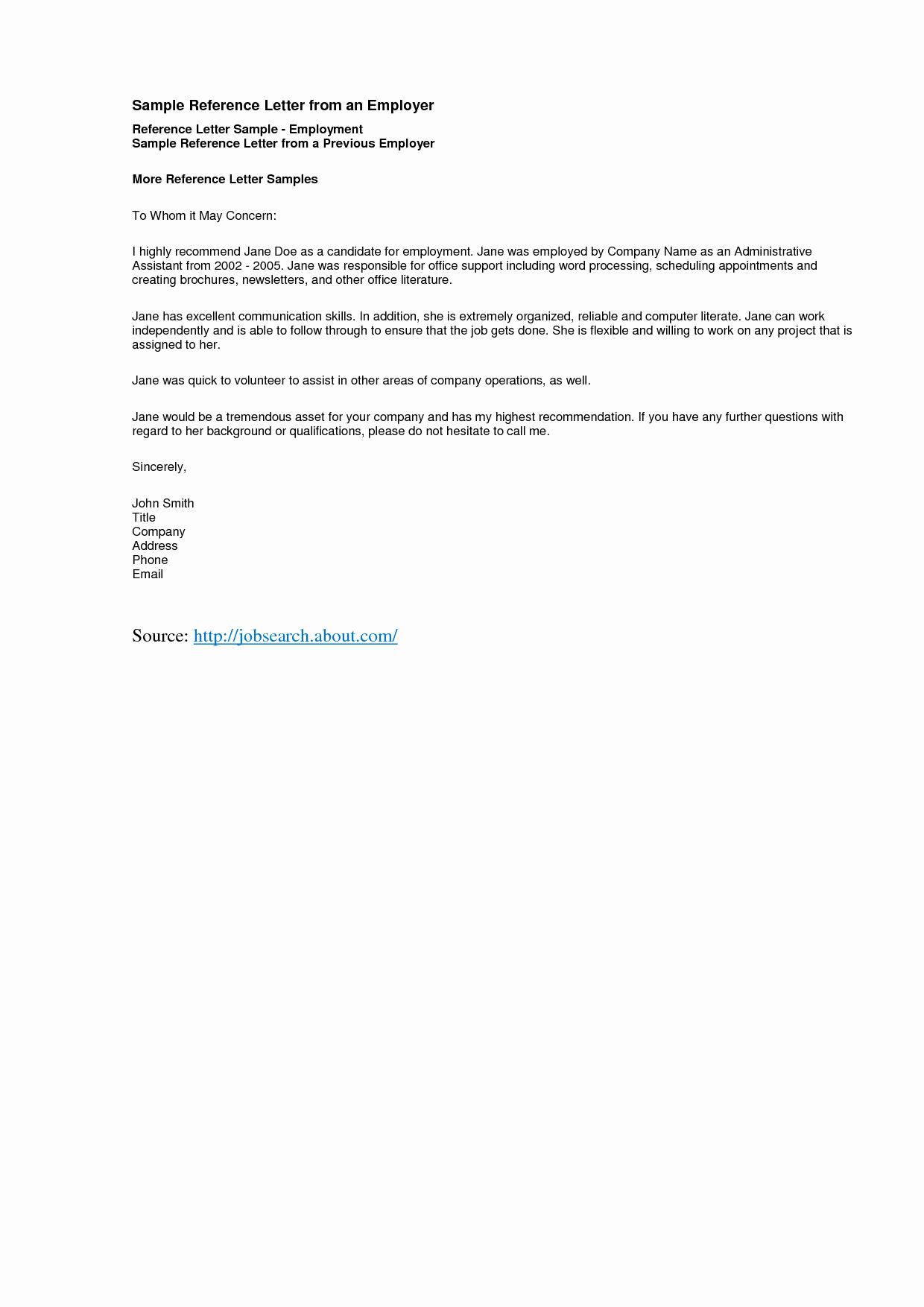 Format for Letters Of Recommendation New Reference Letter Template Best Templatepersonal