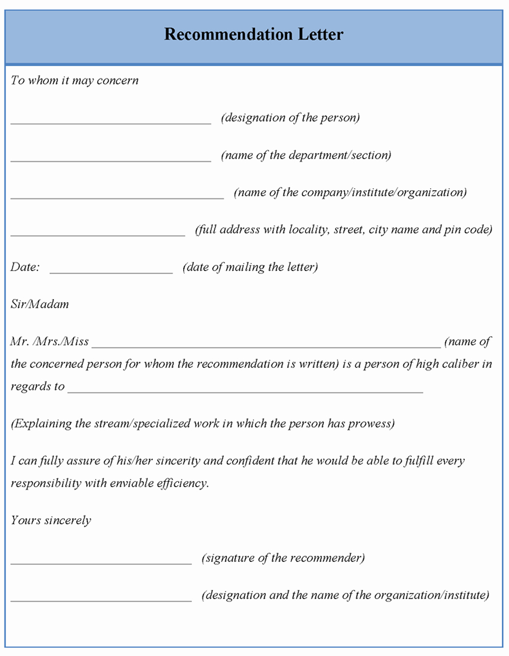 Format for Letters Of Recommendation Unique Template for Letter Re Mendation