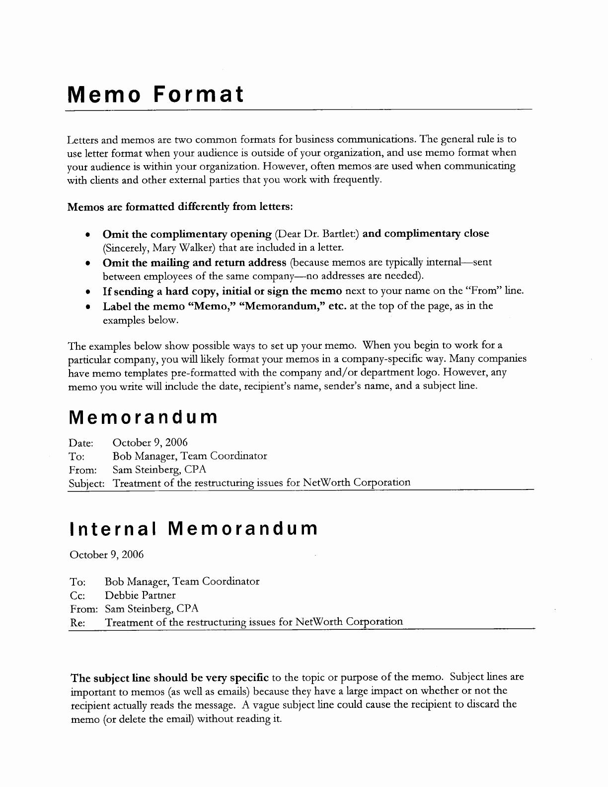 Format Of A Business Memorandum Best Of How is A Business Memo format Written