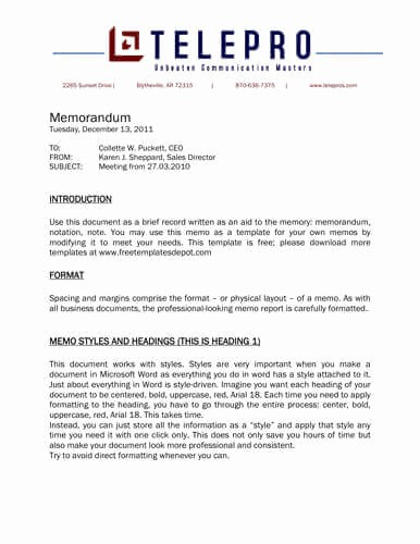 Format Of A Business Memorandum New Memo format [bonus 48 Memo Templates]