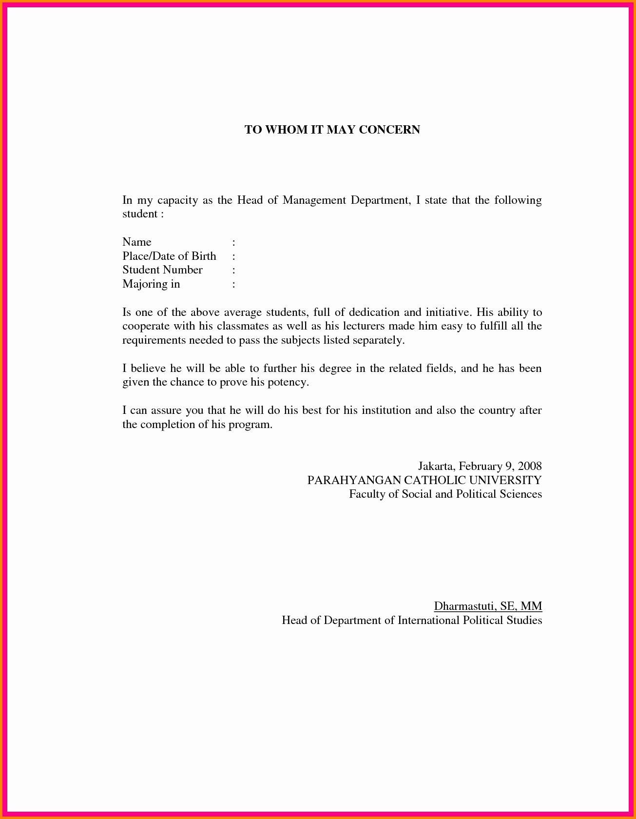 Format Of A Recomendation Letter Elegant Letter Of Re Mendation format Sample Template