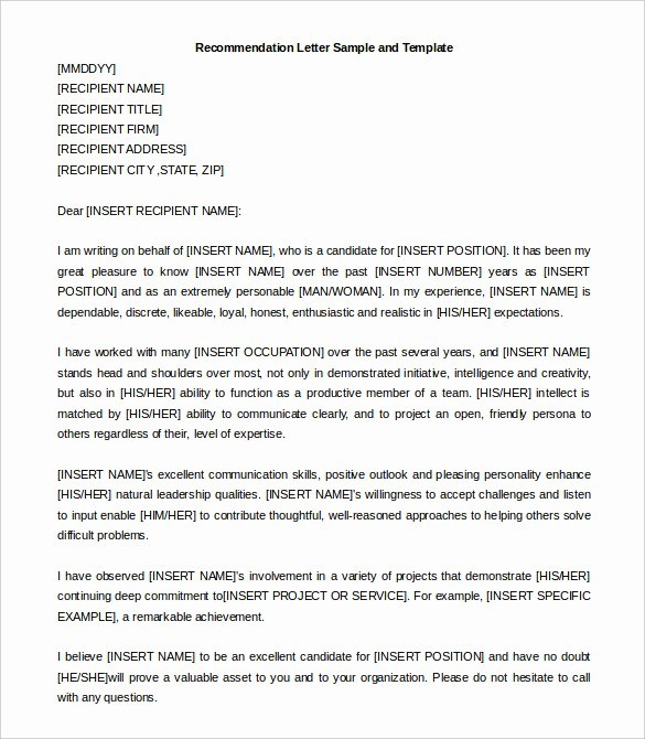Format Of A Recomendation Letter New 30 Re Mendation Letter Templates Pdf Doc