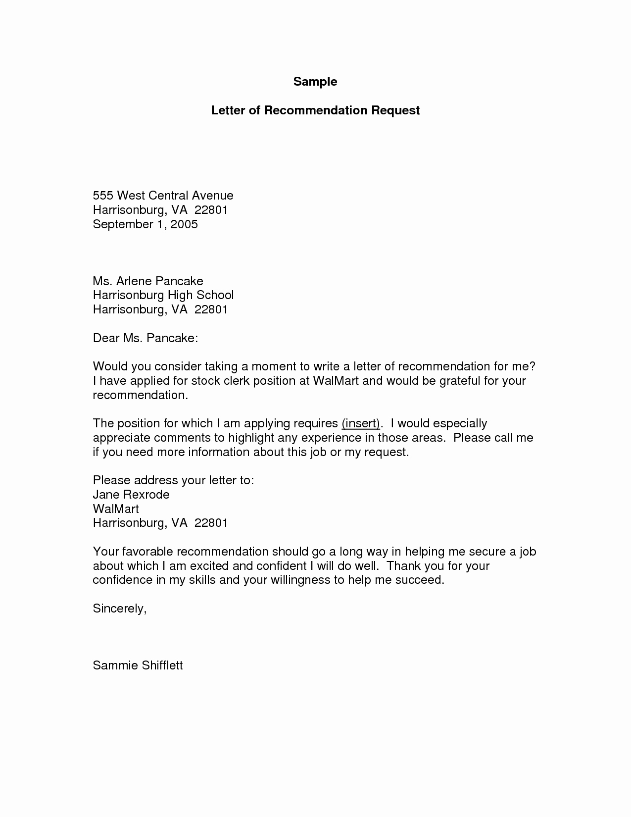 Format Of A Recomendation Letter New Re Mendation Letter Request Sample