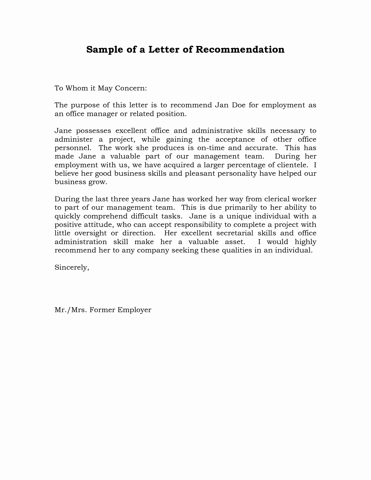 Format Of A Recomendation Letter New Sample Re Mendation Letter for Job