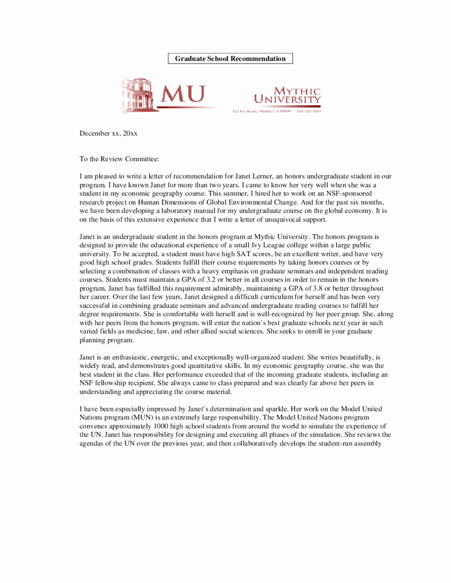 Format Of A Recomendation Letter Unique 2018 Letter Of Re Mendation Sample Fillable Printable