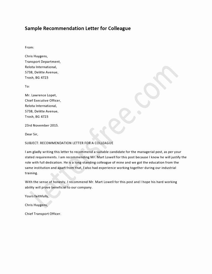 Format Of A Recommendation Letter Elegant Example Of Re Mendation Letter for Colleague Sample