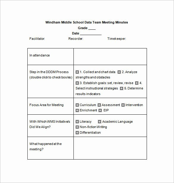 Format Of Minute Of Meeting Best Of School Meeting Minutes Template – 7 Free Word Excel Pdf