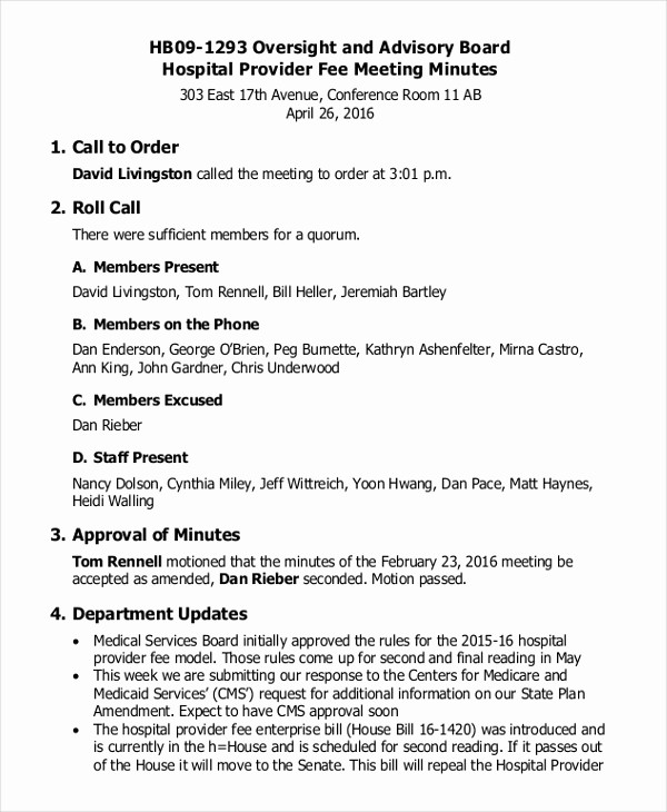 Format Of Minute Of Meeting Elegant 17 Board Meeting Minutes Examples