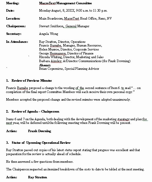Format Of Minute Of Meeting Inspirational Meeting Minutes Sample format for A Typical Meeting