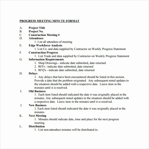 Format Of Minute Of Meeting Lovely 13 Project Meeting Minutes Templates to Download