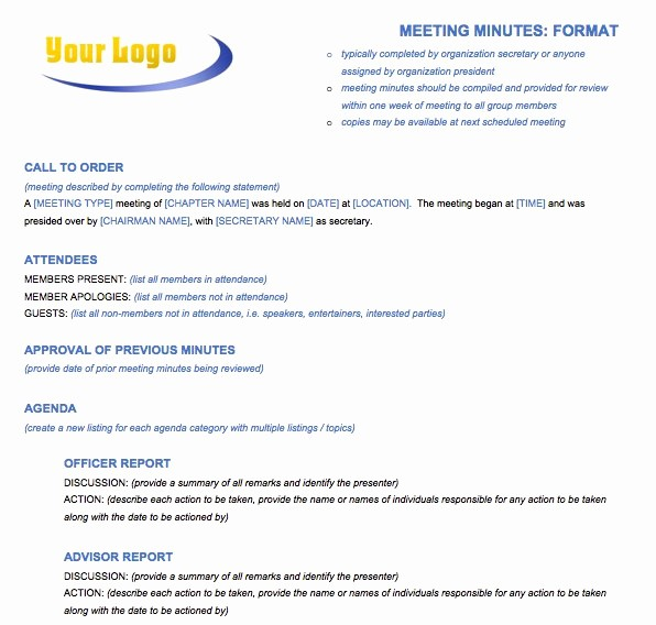 Format Of Minute Of Meeting Luxury Free Meeting Minutes Template for Microsoft Word