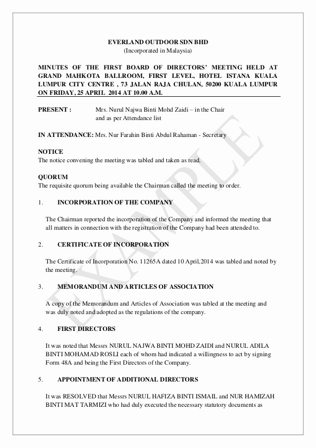 Format Of Minute Of Meeting Luxury Minutes Of First Board Of Directors Meeting