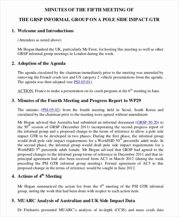 Format Of Minutes Of Meetings Beautiful 13 Informal Minutes Template – Free Sample Example