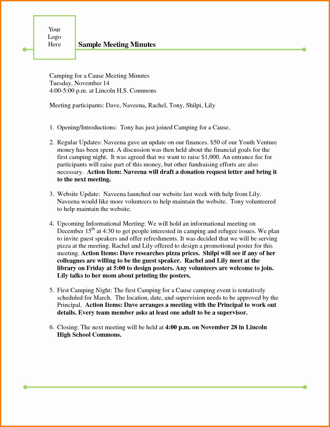 Format Of Minutes Of Meetings Best Of Sample Meeting Minutes Template