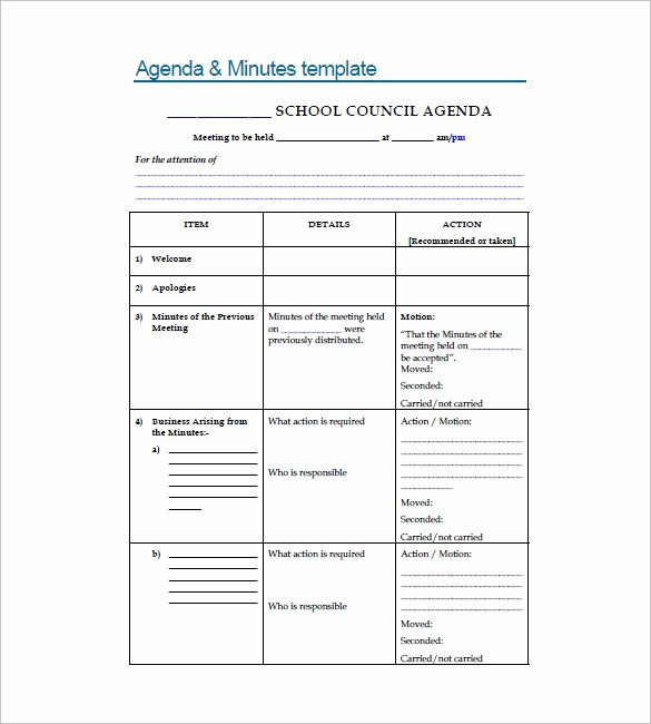 Format Of Minutes Of Meetings Inspirational 18 School Meeting Minutes Templates Pdf Doc