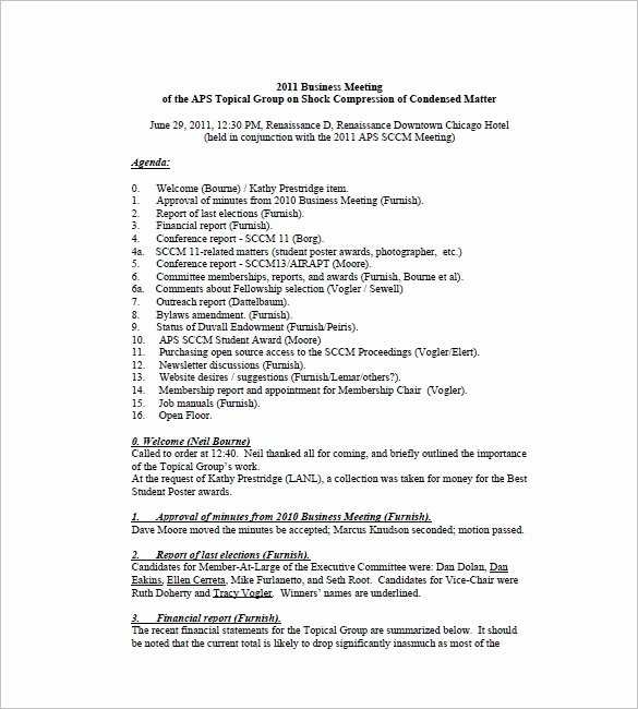 Format Of Minutes Of Meetings Luxury Business Meeting Minutes Template 12 Free Sample