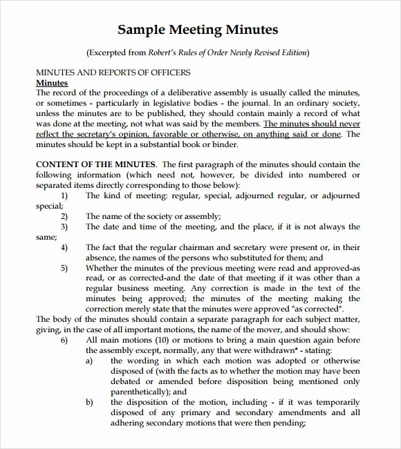 Format Of Minutes Of Meetings Unique 8 Meeting Summary Templates Download for Free