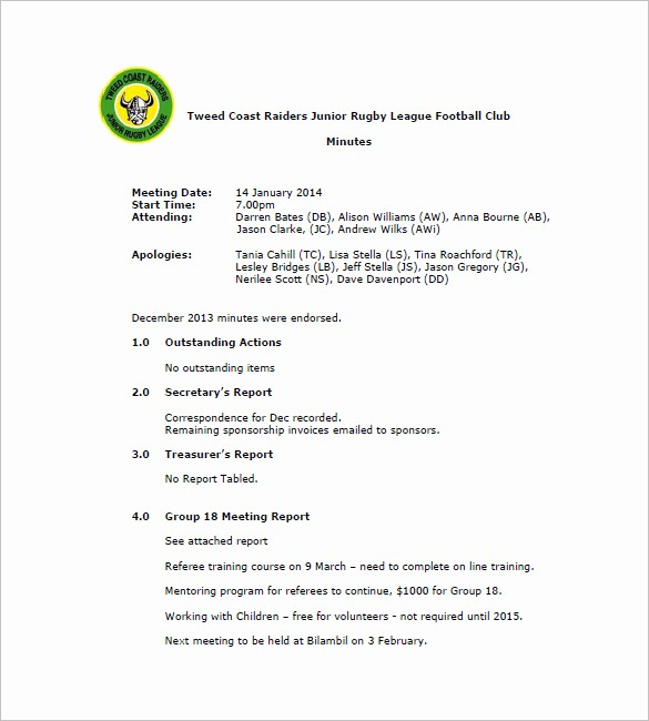Format Of Minutes Of Meetings Unique Club Meeting Minutes Templates 8 Free Sample Example