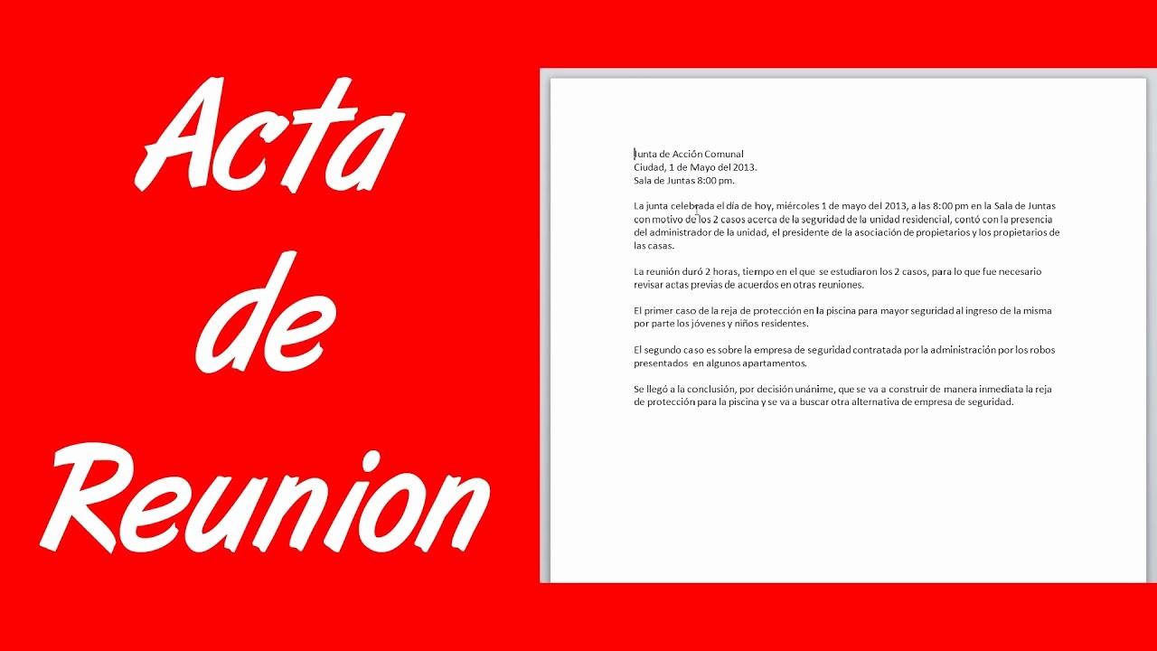 Formato Acta Reunion De Trabajo Best Of O Hacer Una Acta De Reunión