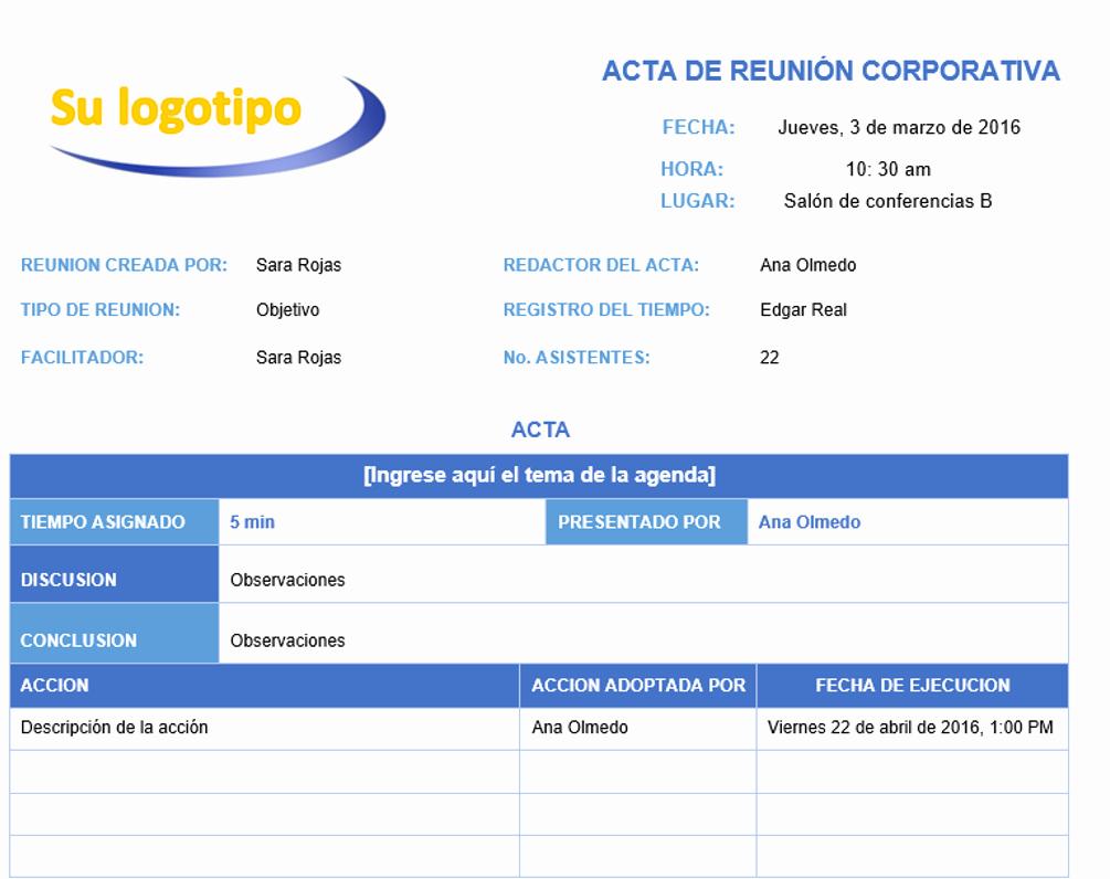 Formato Acta Reunion De Trabajo Elegant Plantillas De Minutas Para Microsoft Word Gratis Smartsheet