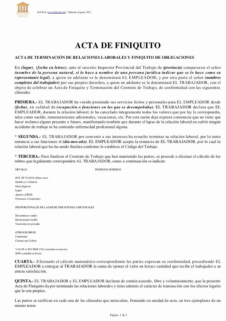 Formato Acta Reunion De Trabajo Inspirational Acta De Finiquito
