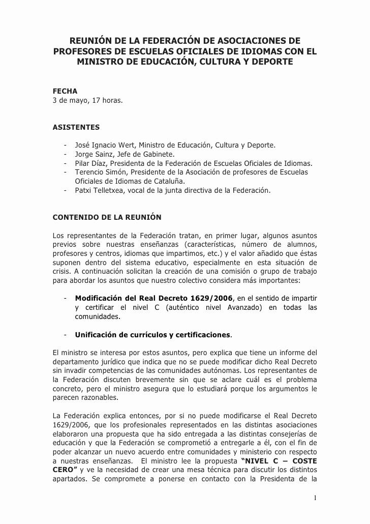 Formato Acta Reunion De Trabajo Inspirational Acta De La Reunión