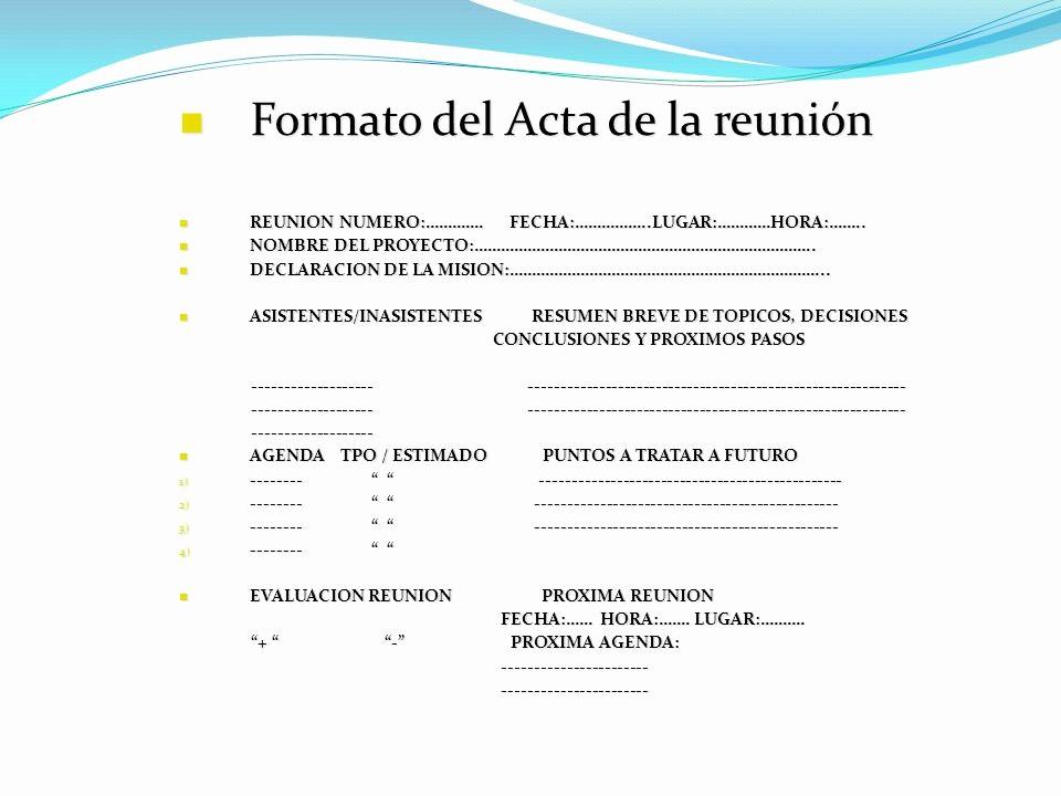 Formato Acta Reunion De Trabajo Inspirational Reuniones Productivas Ppt Descargar