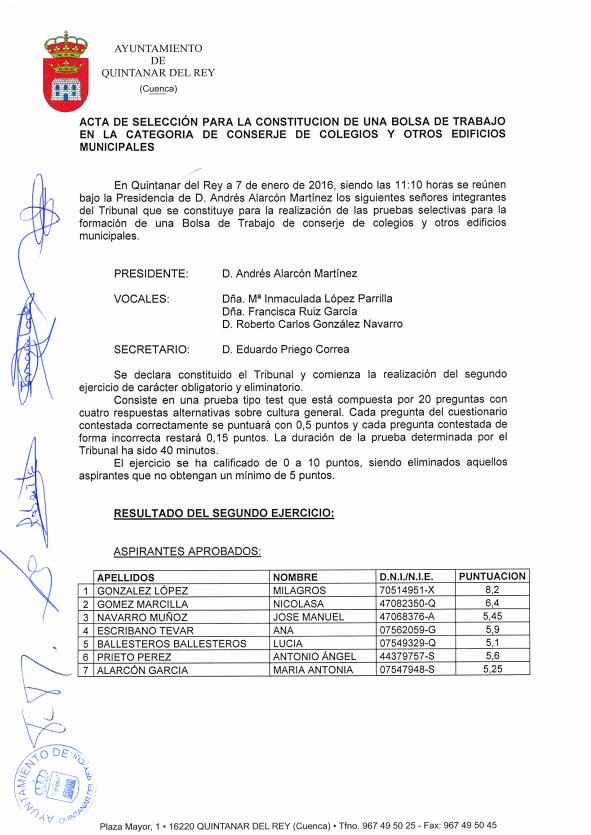 acta seleccion segundo ejercicio bolsa de trabajo conserje de colegios y otras instalaciones municipales