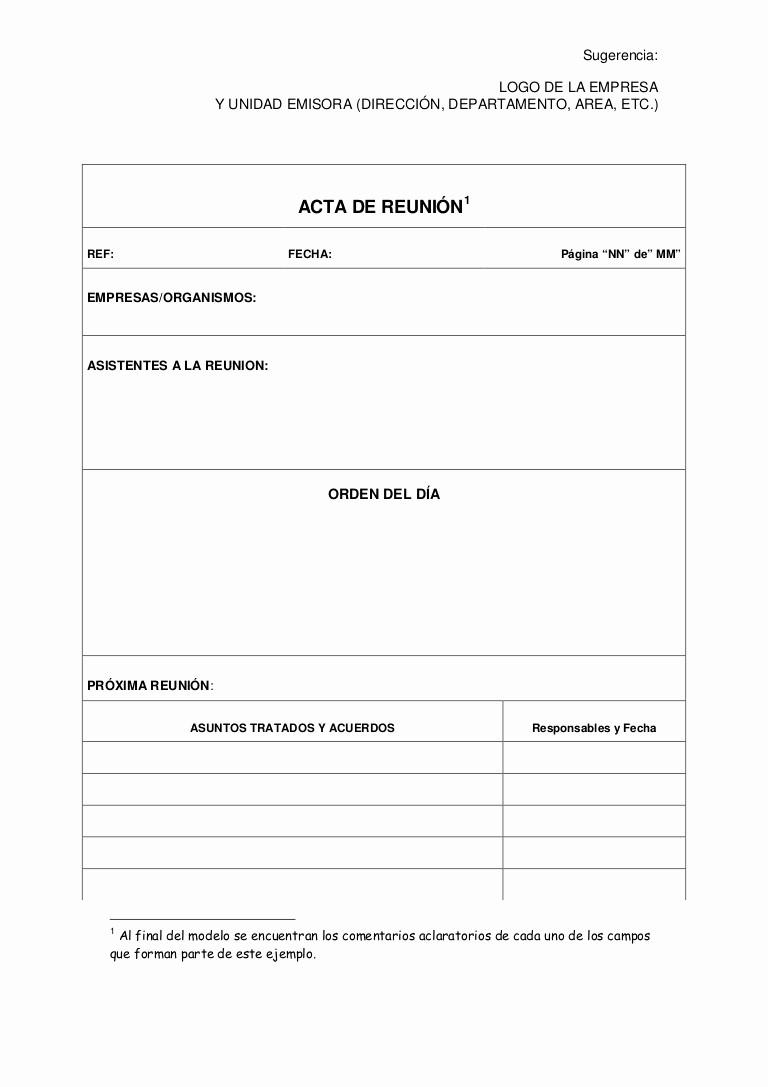 Formato Acta Reunion De Trabajo New Modelo De Acta De Reunion