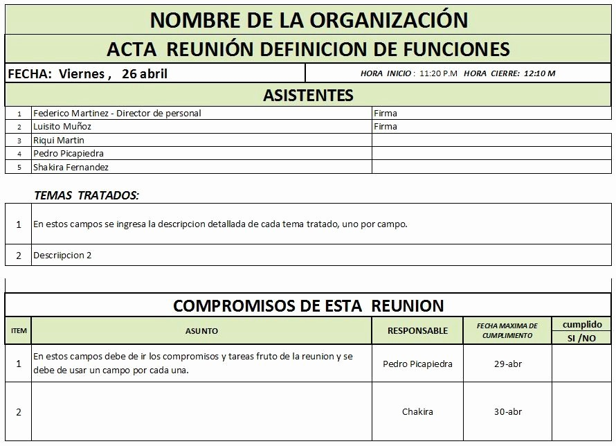 Formato Acta Reunion De Trabajo Unique Categorias Fice formats