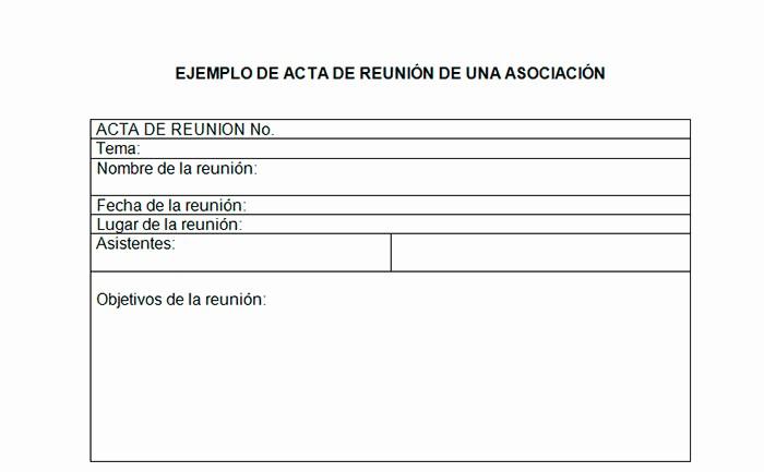 Formato Acta Reunion De Trabajo Unique Ejemplo De Acta De Reunión De Una asociación