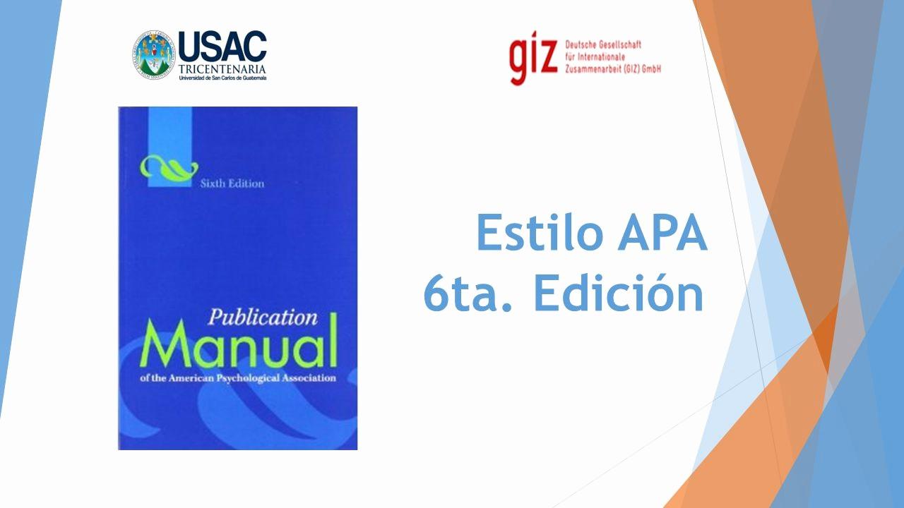 Formato Apa Sexta Edicion Descargar Awesome Estilo Apa 6ta Edición Ppt Descargar