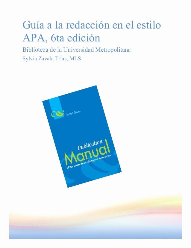 Formato Apa Sexta Edicion Descargar Beautiful Gua A La Redacción En El Estilo Apa 6ta Edición