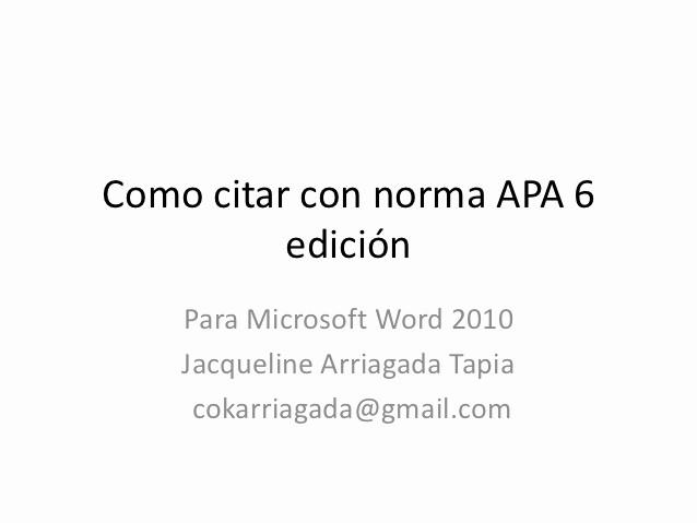 Formato Apa Sexta Edicion Descargar Unique O Citar Con norma Apa 6 Edición En Microsoft Word