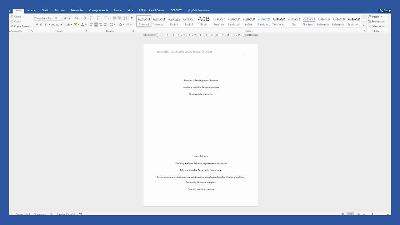 Formato Apa Sexta Edicion Descargar Unique Word Portada Según normas Apa Saber Programas