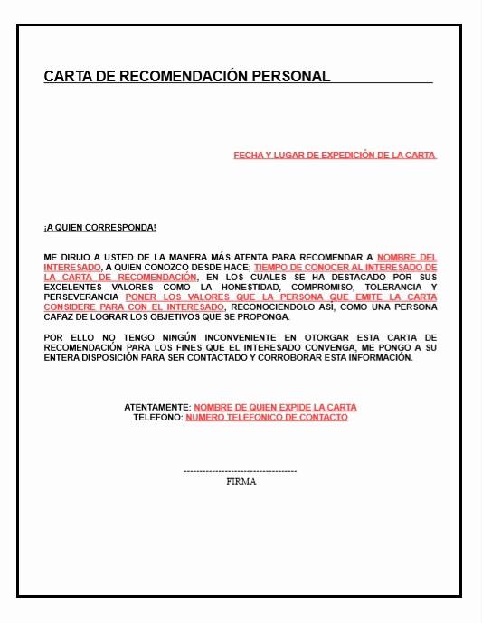 Formato Carta De Recomendacion Personal Fresh Carta De Re Endacion Personal Descripcion